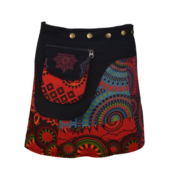 Ladies Fashion Multi color Wrap Round Hippy Popper Skirt (LMN6069) - Craze Trade Limited