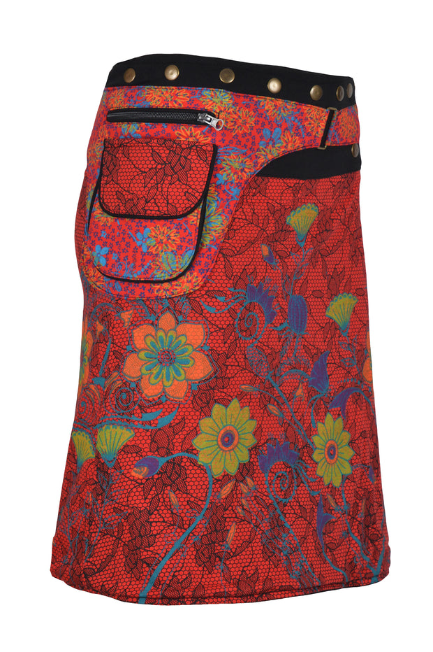 FLORAL PRINT BUTTON CLOSURE WARP MINI SKIRT - Craze Trade Limited