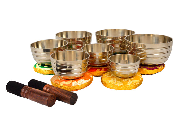 Bermoni Tibetan Set of 7 Chakra Meditation Singing Bowl for Healing Prayer,Yoga with Mallet & Cushion (KTM-SING-1111SET7) - Craze Trade Limited