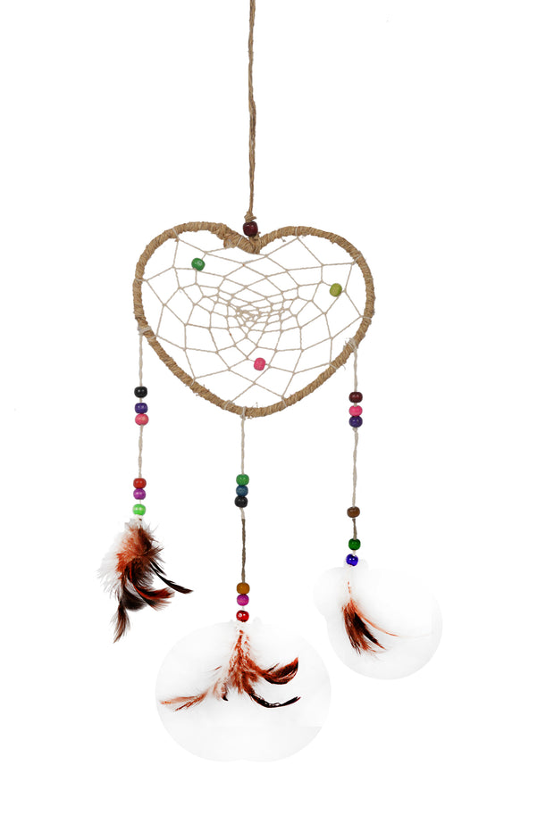 Handmade Heart Shape Dream Catcher Net With feathers and Bells Wall Hanging Decorations (DRM-1039BLE) - Craze Trade Limited