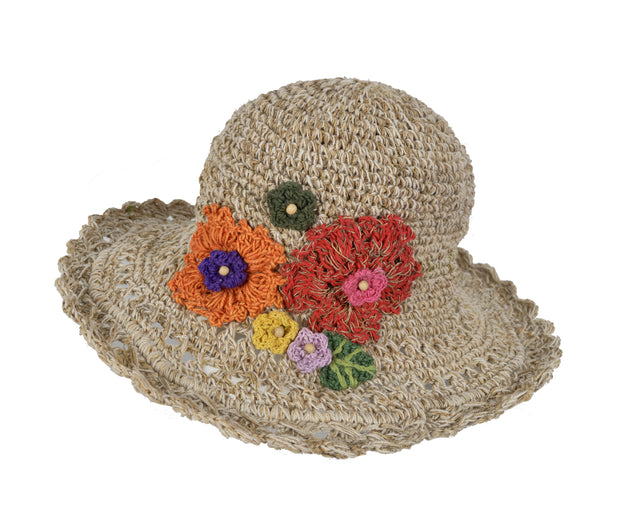 Wide Brim Knitted Summer Crochet Hemp Cotton Mix Hat With Colorful Knitted Flower. - Craze Trade Limited