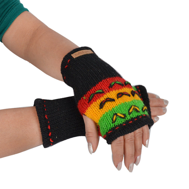 Women's Woolen Knitted Handwarmer Fleece Lined Multicolor Arm Warmers - Craze Trade Limited