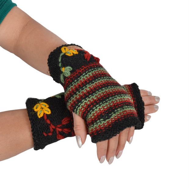 Women's woolen hand warmer fleece lined floral embroidery winter handwarmers - Craze Trade Limited