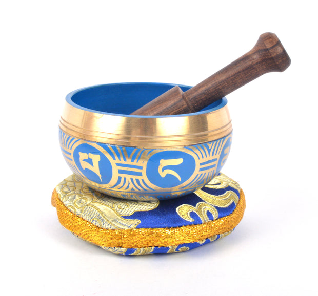 Tibetan Meditation Singing Bowl with Craved Endless Knot & Om Mani Padme (MH-SING-1991BLE) - Craze Trade Limited