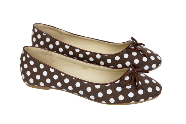 Ladies Polka Dots Ballerina Shoes. Comfortable, Slip on and Hidden Heels- CH-SR-4806 - Craze Trade Limited