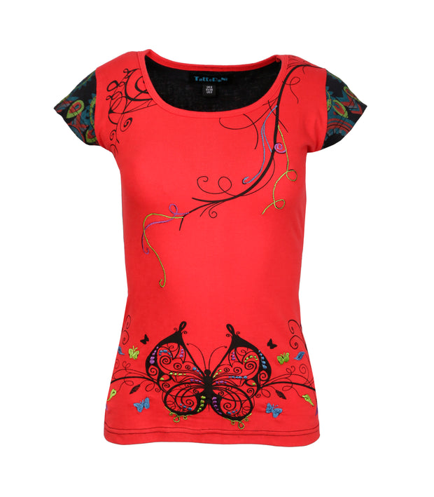 Butterfly Embroidery Cap Sleeve Red Tops - Craze Trade Limited