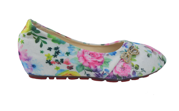 Floral Pattern Girl's Colorful Slip-On Ballerina flat Shoes - Craze Trade Limited