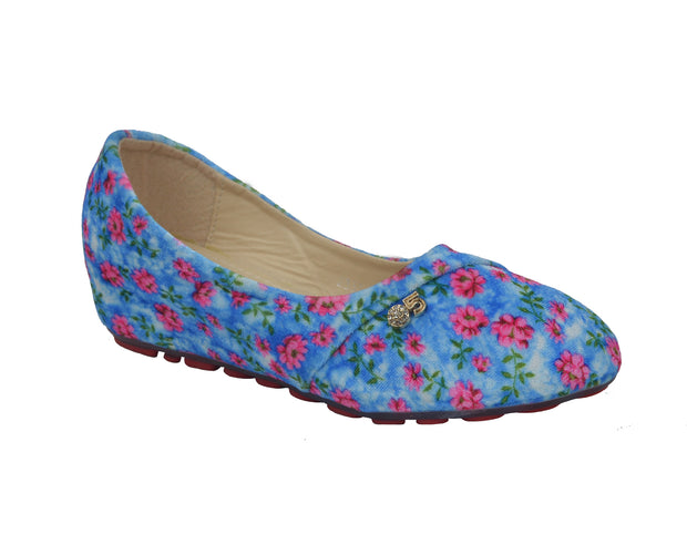 Girl's  Colorful Floral Pattern Slip-On Ballerina flat Shoes - Craze Trade Limited