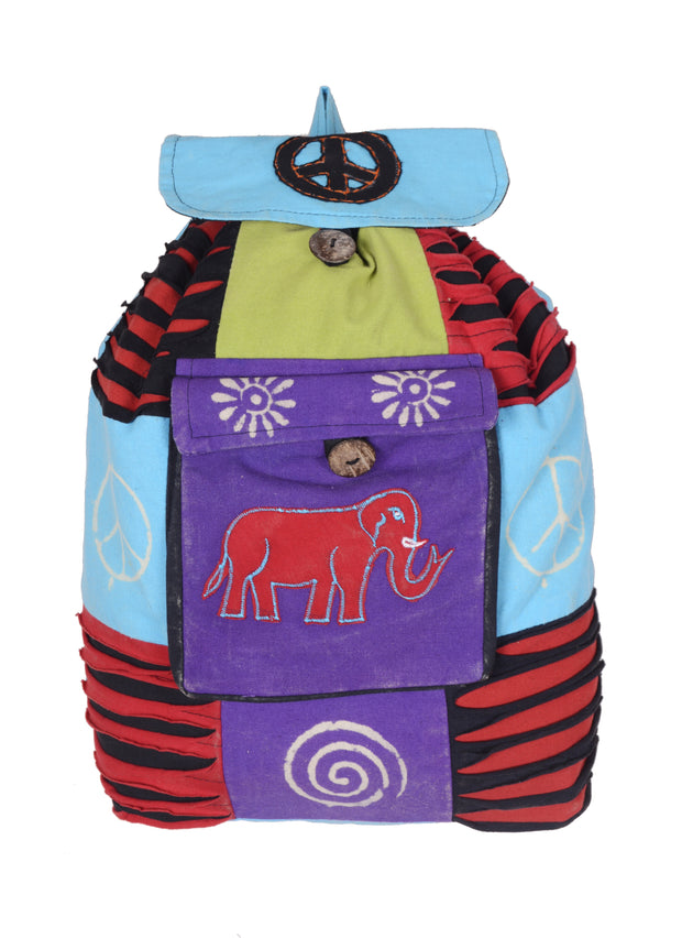 Elephant Embroidery Multicolored Back Pack - Craze Trade Limited