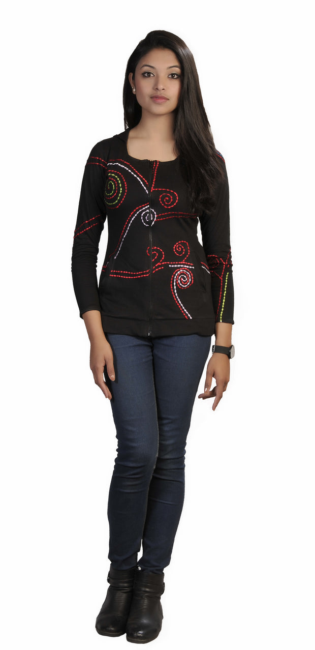Ladies Black Slim Fit Long Sleeve Sinker Jacket with Dotted Spiral Embroidery- TC-TJK77 - Craze Trade Limited