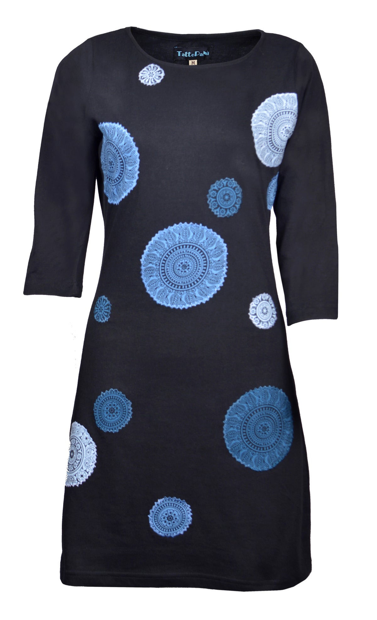 Ladies Quarter Sleeve Dress with Mandala Embroidery -Coconut - Craze Trade Limited