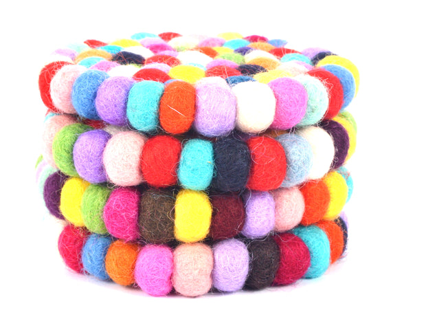 Felt Ball Coaster-Colorful, Soft And Warm (SW- FELT-CIRP4) - Craze Trade Limited