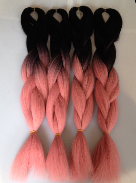 TWO TONE OMBRE JUMBO BRAIDING HAIR - CANDY FLOSS PINK