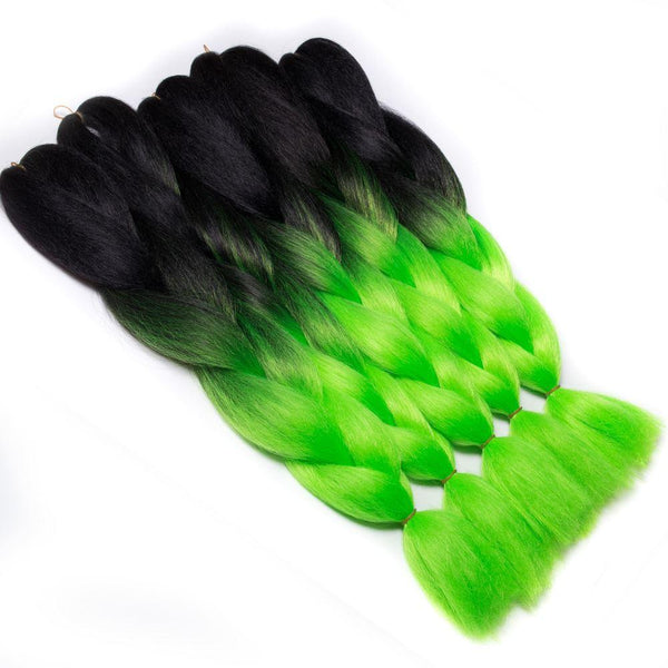 TWO TONE OMBRE JUMBO BRAIDING HAIR - LEAFY GREEN