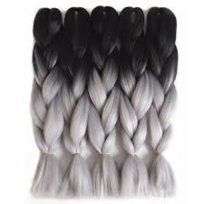 TWO TONE OMBRE JUMBO BRAIDING HAIR - STORMY GREY