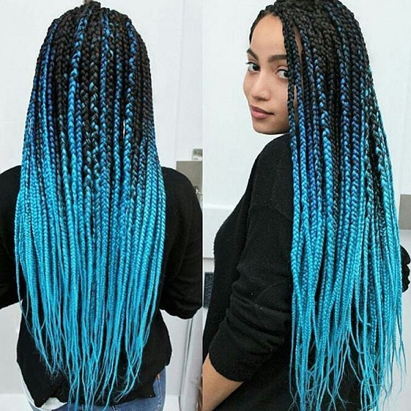 TWO TONE OMBRE JUMBO BRAIDING HAIR - SKY BLUE