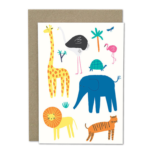 "Amelia Flower Greeting Card + Envelope ""Animals"""
