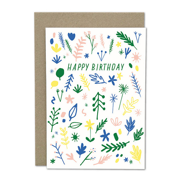 "Amelia Flower Greeting Card + Envelope ""Birthday Plants"""