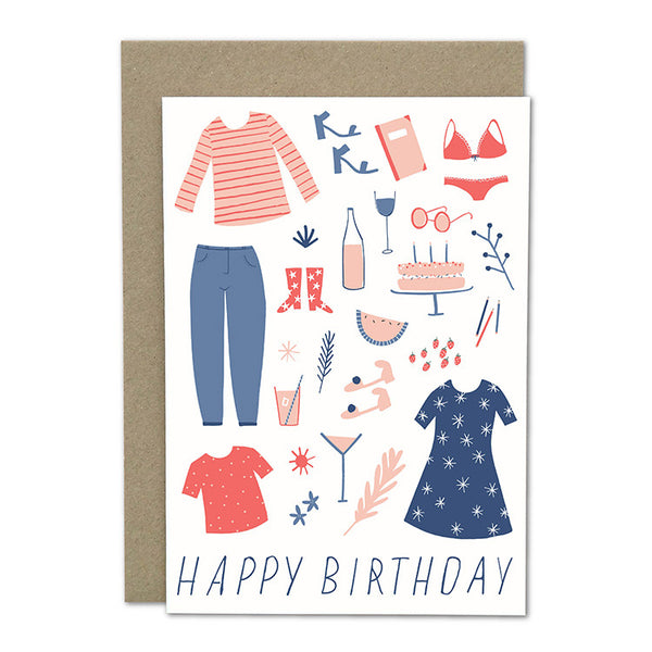 "Amelia Flower Greeting Card + Envelope ""Pink Birthday"""