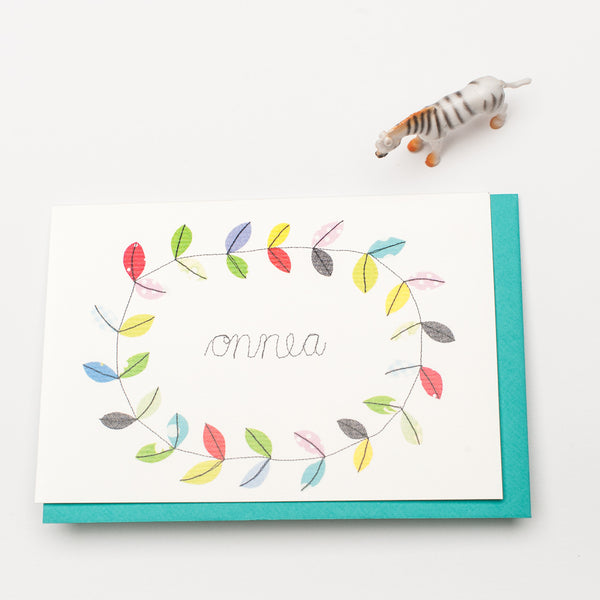 "A6 Syko Greeting Card + Envelope ""Onnea"""