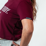 Women's Stay Ready Crop Top - Maroon/Arctic Tigertac