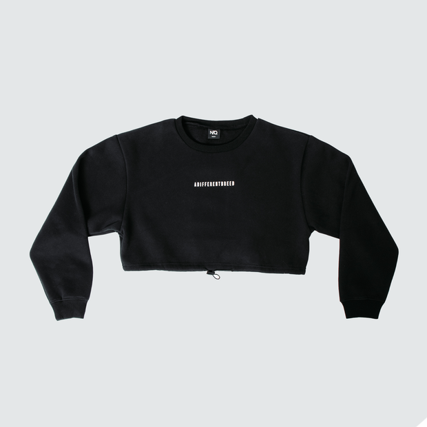 A Different Breed Cinch Crop Crewneck - Black/White