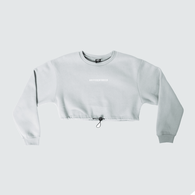 A Different Breed Cinch Crop Crewneck - Grey/White