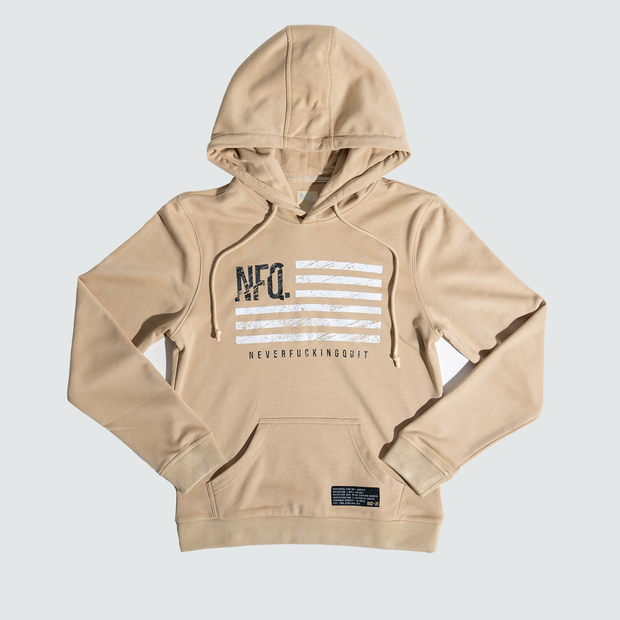Women's Distressed Flag Utility Pullover - Tan/White