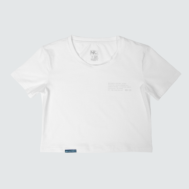 Women's Operation Badge Crop Top - White/Grey