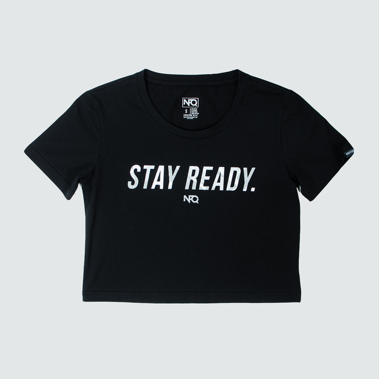 Women's Stay Ready Crop Top - Black/Arctic Tigertac