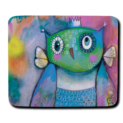 Quirky Owl Mouse Pad