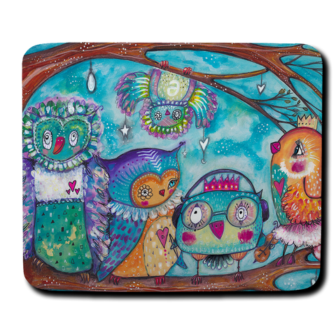 Quirky Birds Mouse Pad
