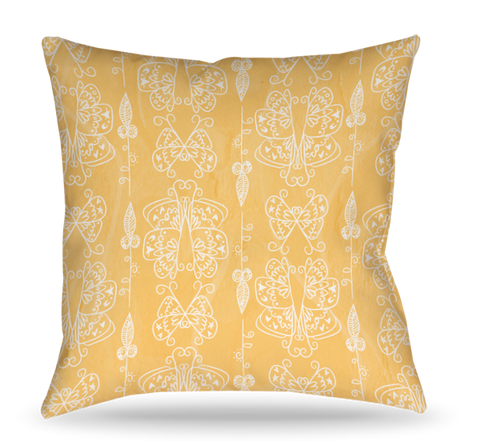 Yellow Icon Toss Pillow