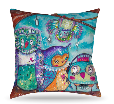 Quirky Bird Group Pillow