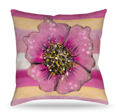 Stripes with Flowers Pillow