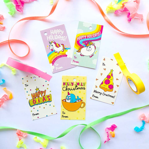 Holiday Christmas Unicorn Gift Tags