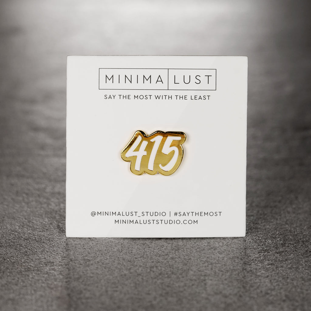 415 White & Gold Enamel Pin