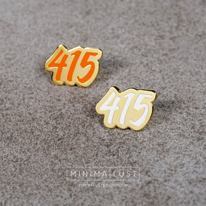415 Orange & Gold Enamel Pin