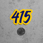 415 Blue & Yellow Die Cut Sticker