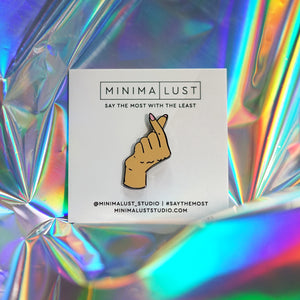 Finger Heart Enamel Pin