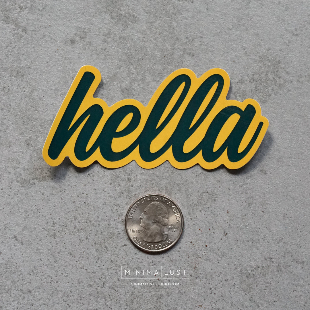 Hella Green & Gold Die Cut Sticker