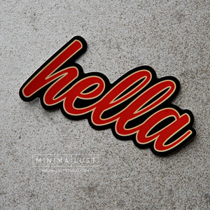 Hella Red & Gold Die Cut Sticker