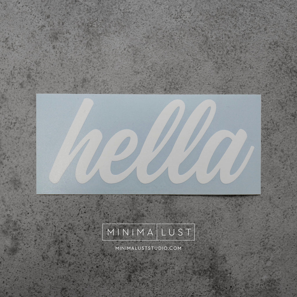 Hella White Vinyl Decal