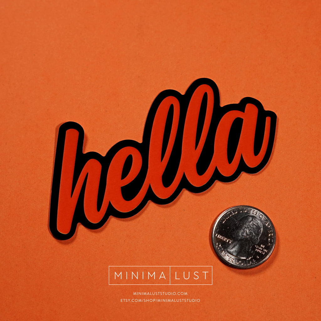 Hella Black & Orange Die Cut Sticker