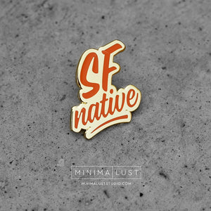 SF Native Orange & Gold Enamel Lapel Pin