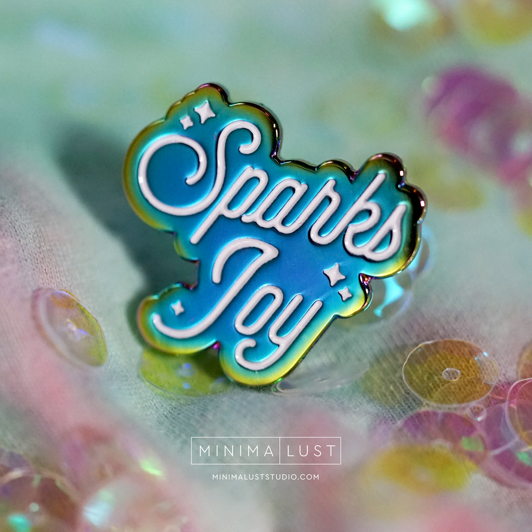 Sparks Joy Rainbow Anodized Metal Enamel Pin