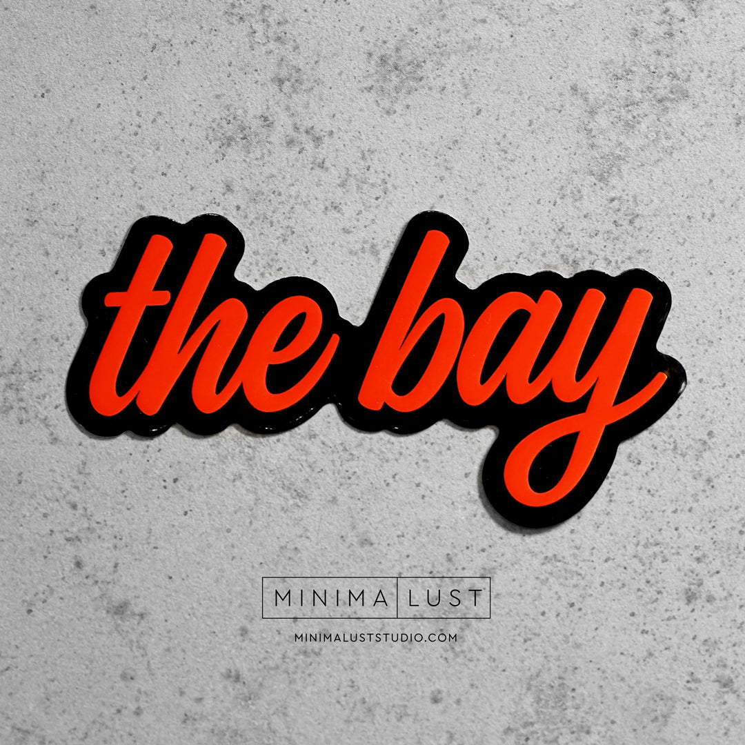 The Bay Black & Orange Die Cut Sticker