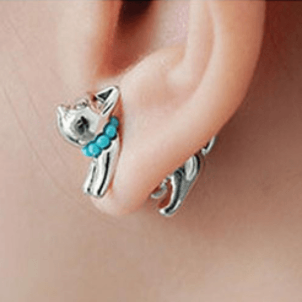 Through Your Ear Pearl Cat Earrings