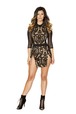 Roma Clubwear Double Slit Dress with Three-Quarter Length Sleeves