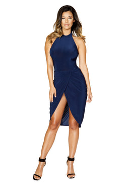 Roma Clubwear Halter Neck Dress with Scrunched Overlapping Detail